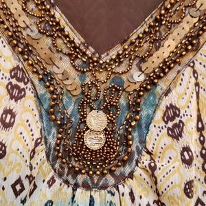 New Directions sz L embellished dressy tank top